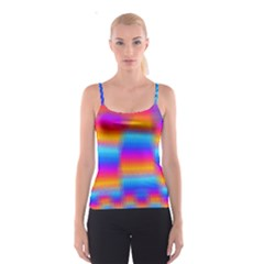 Psychedelic Rainbow Heat Waves Spaghetti Strap Tops