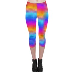 Psychedelic Rainbow Heat Waves Capri Leggings