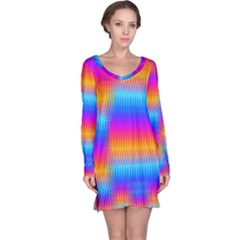 Psychedelic Rainbow Heat Waves Long Sleeve Nightdresses