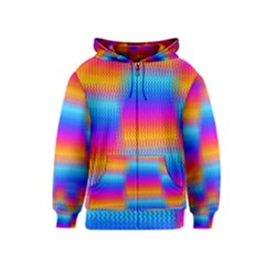 Psychedelic Rainbow Heat Waves Kids Zipper Hoodies