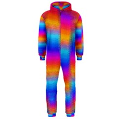 Psychedelic Rainbow Heat Waves Hooded Jumpsuit (Men)