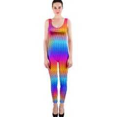 Psychedelic Rainbow Heat Waves OnePiece Catsuits