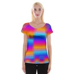 Psychedelic Rainbow Heat Waves Women s Cap Sleeve Top
