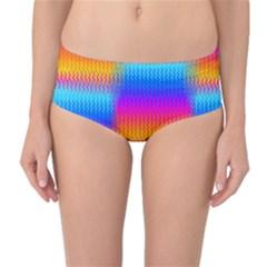 Psychedelic Rainbow Heat Waves Mid-Waist Bikini Bottoms