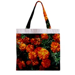 Tagetes Zipper Grocery Tote Bags