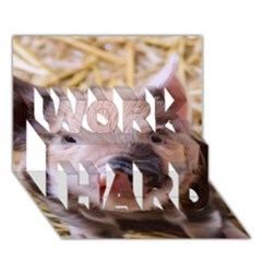 Sweet Piglet WORK HARD 3D Greeting Card (7x5)