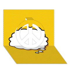 Comic Book Think Peace Sign 3D Greeting Card (7x5)