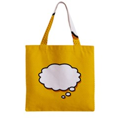 Comic Book Think Zipper Grocery Tote Bags