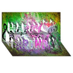 Abstract Music  Happy Birthday 3d Greeting Card (8x4)