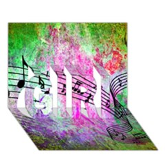 Abstract Music  GIRL 3D Greeting Card (7x5)