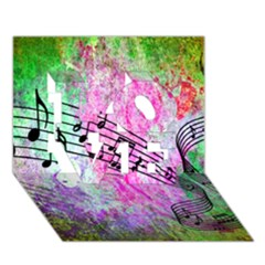 Abstract Music  LOVE 3D Greeting Card (7x5)