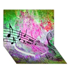 Abstract Music  Heart Bottom 3D Greeting Card (7x5)