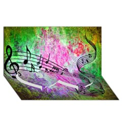 Abstract Music  Twin Heart Bottom 3D Greeting Card (8x4)
