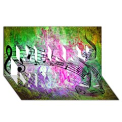 Abstract Music  Merry Xmas 3d Greeting Card (8x4)