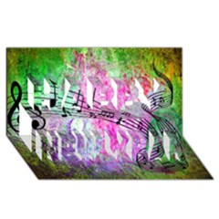 Abstract Music  Happy New Year 3d Greeting Card (8x4)