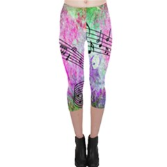 Abstract Music  Capri Leggings