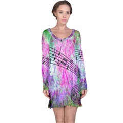Abstract Music  Long Sleeve Nightdresses