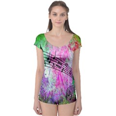 Abstract Music  Short Sleeve Leotard