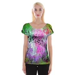 Abstract Music  Women s Cap Sleeve Top