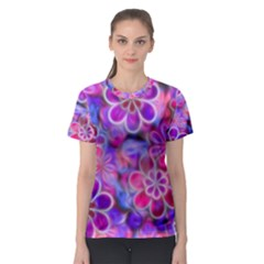 Pretty Floral Painting Women s Sport Mesh Tees