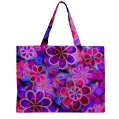 Pretty Floral Painting Zipper Tiny Tote Bags