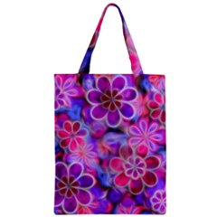 Pretty Floral Painting Zipper Classic Tote Bags