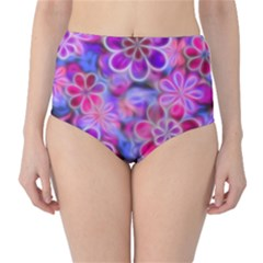 Pretty Floral Painting High-Waist Bikini Bottoms