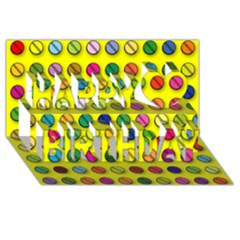 Multi Col Pills Pattern Happy Birthday 3d Greeting Card (8x4)