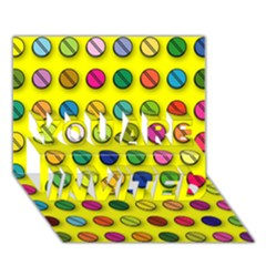 Multi Col Pills Pattern YOU ARE INVITED 3D Greeting Card (7x5)