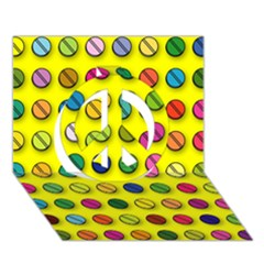 Multi Col Pills Pattern Peace Sign 3D Greeting Card (7x5)