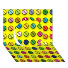 Multi Col Pills Pattern Circle 3D Greeting Card (7x5)