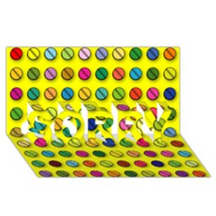 Multi Col Pills Pattern Sorry 3d Greeting Card (8x4)
