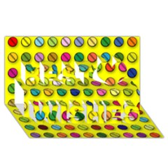 Multi Col Pills Pattern Best Wish 3D Greeting Card (8x4)