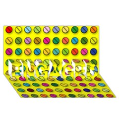 Multi Col Pills Pattern ENGAGED 3D Greeting Card (8x4)