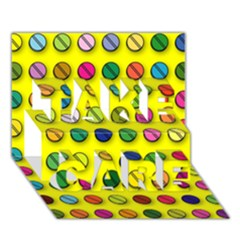 Multi Col Pills Pattern Take Care 3d Greeting Card (7x5)