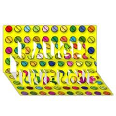 Multi Col Pills Pattern Laugh Live Love 3D Greeting Card (8x4)