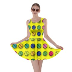 Multi Col Pills Pattern Skater Dresses