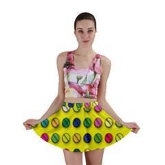 Multi Col Pills Pattern Mini Skirts