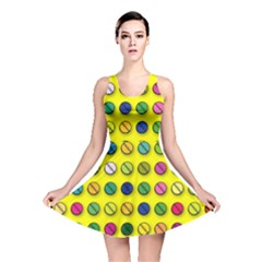 Multi Col Pills Pattern Reversible Skater Dresses