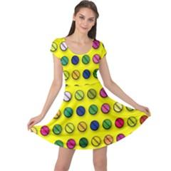 Multi Col Pills Pattern Cap Sleeve Dresses