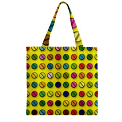 Multi Col Pills Pattern Zipper Grocery Tote Bags