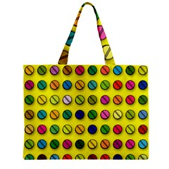 Multi Col Pills Pattern Zipper Tiny Tote Bags