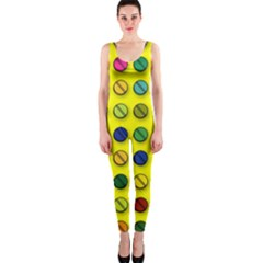 Multi Col Pills Pattern OnePiece Catsuits