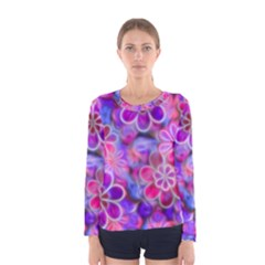 Pretty Floral Painting Women s Long Sleeve T-shirts