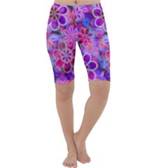 Pretty Floral Painting Cropped Leggings