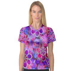 Pretty Floral Painting Women s V-Neck Sport Mesh Tee