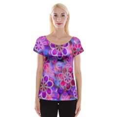 Pretty Floral Painting Women s Cap Sleeve Top
