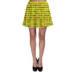 Multi Col Pills Pattern Skater Skirts