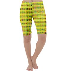 Multi Col Pills Pattern Cropped Leggings