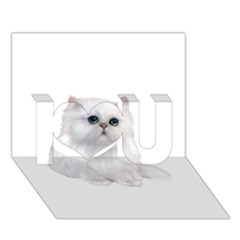 White Persian Cat Clipart I Love You 3D Greeting Card (7x5)